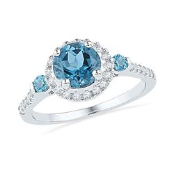 0.20 CTW Created Blue Topaz Solitaire Diamond Ring 10KT White Gold - REF-30F2N