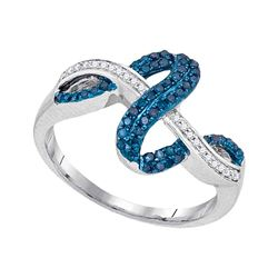 0.25 CTW Blue Color Diamond Crossover Wave Ring 10KT White Gold - REF-24M2H