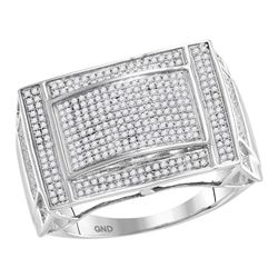 0.76 CTW Mens Pave-set Diamond Convex Dome Ring 10KT White Gold - REF-87H2M