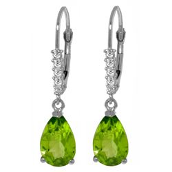 Genuine 3.15 ctw Peridot & Diamond Earrings Jewelry 14KT White Gold - REF-44F3Z
