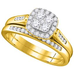 0.50 CTW Diamond Cluster Bridal Engagement Ring 14KT Yellow Gold - REF-64N4F