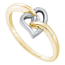 0.05 CTW Diamond Solitaire Heart Ring 14KT Two-tone Gold - REF-9K7W