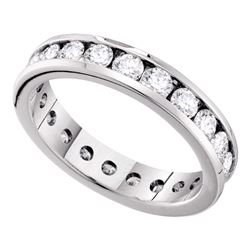 2 CTW Diamond Eternity Wedding Anniversary Ring 14KT White Gold - REF-240N2F