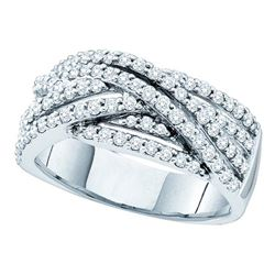 0.85 CTW Diamond Crossover Ring 14KT White Gold - REF-94K4W