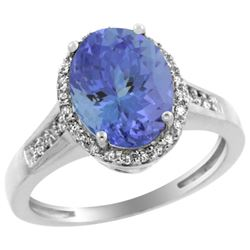Natural 2.49 ctw Tanzanite & Diamond Engagement Ring 14K White Gold - REF-88F2N