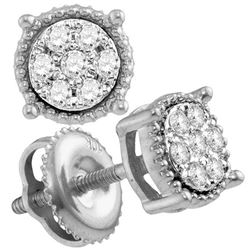 0.10 CTW Diamond Flower Cluster Milgrain Stud Earrings 10KT White Gold - REF-10K5W