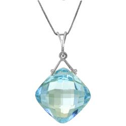 Genuine 8.75 ctw Blue Topaz Necklace Jewelry 14KT White Gold - REF-21R4P