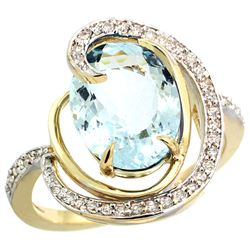Natural 6.53 ctw aquamarine & Diamond Engagement Ring 14K Yellow Gold - REF-103X8A