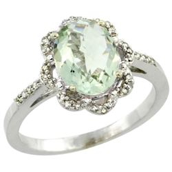 Natural 1.85 ctw Green-amethyst & Diamond Engagement Ring 10K White Gold - REF-29H3W