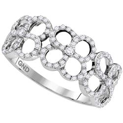 0.33 CTW Diamond Circle Ring 10KT White Gold - REF-26F9N