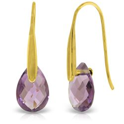 Genuine 6 ctw Amethyst Earrings Jewelry 14KT Yellow Gold - REF-38K5V