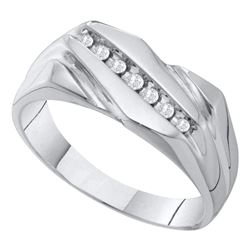 0.12 CTW Mens Diamond Wedding Ring 10KT White Gold - REF-22K4W