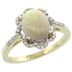Natural 1.15 ctw Opal & Diamond Engagement Ring 14K Yellow Gold - REF-38N2G