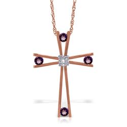 Genuine 0.43 ctw Amethyst & Diamond Necklace Jewelry 14KT Rose Gold - REF-76R7P