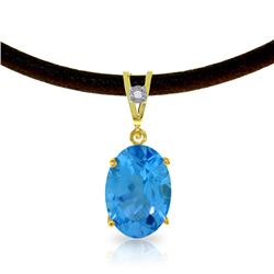 Genuine 7.56 ctw Blue Topaz & Diamond Necklace Jewelry 14KT Yellow Gold - REF-35F5Z