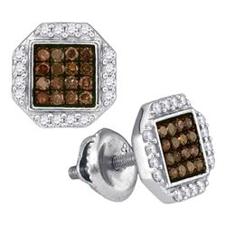 0.40 CTW Cognac-brown Color Diamond Octagon Cluster Earrings 10KT White Gold - REF-19X4Y