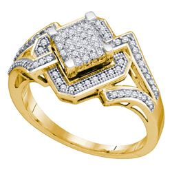 0.35 CTW Diamond Diagonal Square Cluster Ring 10KT Yellow Gold - REF-41K9W