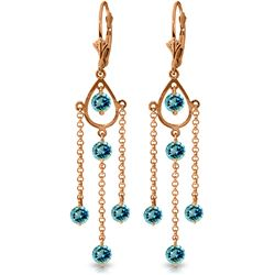 Genuine 3 ctw Blue Topaz Earrings Jewelry 14KT Rose Gold - REF-48K9V