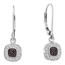 0.24 CTW Black Color Diamond Square Cluster Dangle Earrings 14KT White Gold - REF-30W2K