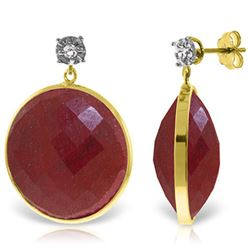 Genuine 46.06 ctw Ruby & Diamond Earrings Jewelry 14KT Yellow Gold - REF-68R8P
