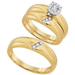 0.18 CTW His & Hers Diamond Solitaire Matching Bridal Ring 10KT Yellow Gold - REF-37K5W