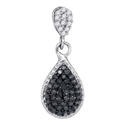 0.25 CTW Black Color Diamond Teardrop Cluster Pendant 10KT White Gold - REF-12N2F
