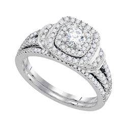 1 CTW Diamond Double Halo Bridal Engagement Ring 14KT White Gold - REF-142H4M