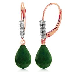 Genuine 17.75 ctw Green Sapphire Corundum & Diamond Earrings Jewelry 14KT Rose Gold - REF-41V6W
