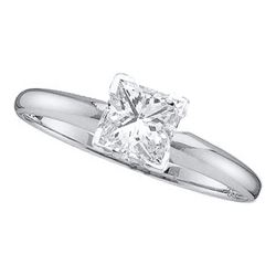 0.20 CTW Princess Diamond Solitaire Bridal Engagement Ring 14KT White Gold - REF-30Y2X