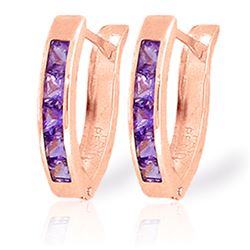 Genuine 0.85 ctw Amethyst Earrings Jewelry 14KT Rose Gold - REF-24P3H