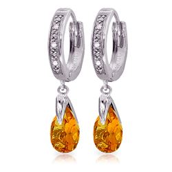Genuine 2.53 ctw Citrine & Diamond Earrings Jewelry 14KT White Gold - REF-58W2Y