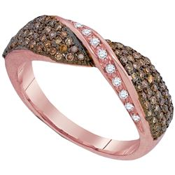 0.53 CTW Cognac-brown Color Diamond Crossover Ring 10KT Rose Gold - REF-38M9H