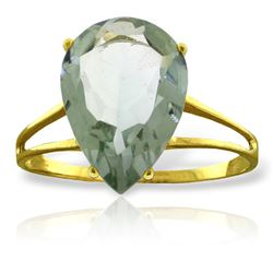 Genuine 5 ctw Green Amethyst Ring Jewelry 14KT Yellow Gold - REF-34H3X