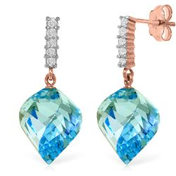 Genuine 27.95 ctw Blue Topaz & Diamond Earrings Jewelry 14KT Rose Gold - REF-87X5M