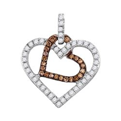 0.30 CTW Cognac-brown Color Diamond Double Heart Pendant 10KT White Gold - REF-22H4M