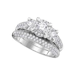 1.33 CTW 3-stone Diamond Bridal Wedding Engagement Ring 14k White Gold - REF-202Y5X