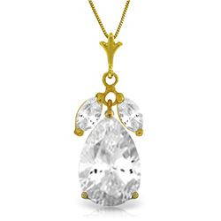 Genuine 6.5 ctw White Topaz Necklace Jewelry 14KT Yellow Gold - REF-38W2Y