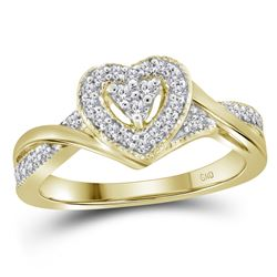 0.25 CTW Diamond Heart Love Ring 10KT Yellow Gold - REF-28W4K