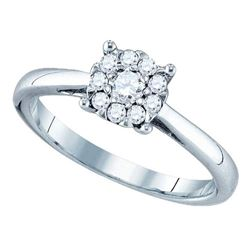 0.72 CTW Diamond Cluster Bridal Engagement Ring 18KT White Gold - REF-149N9F