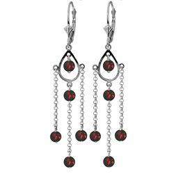 Genuine 3 ctw Garnet Earrings Jewelry 14KT White Gold - REF-48M9T