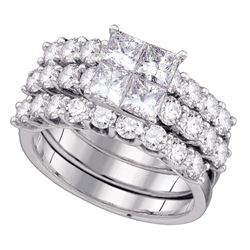4 CTW Princess Diamond 3-Piece Bridal Engagement Ring 14KT White Gold - REF-540Y2X