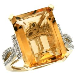 Natural 12.14 ctw Citrine & Diamond Engagement Ring 14K Yellow Gold - REF-66N2G