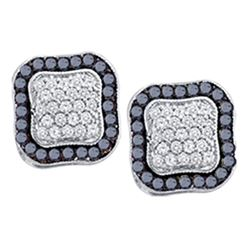 0.97 CTW Black Color Diamond Cluster Earrings 10KT White Gold - REF-37W5K