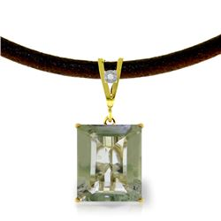 Genuine 6.51 ctw Green Amethyst & Diamond Necklace Jewelry 14KT Yellow Gold - REF-31F6Z