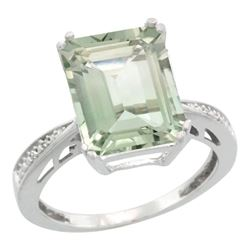 Natural 5.42 ctw green-amethyst & Diamond Engagement Ring 14K White Gold - REF-61X9A