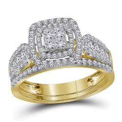 1.02 CTW Princess Diamond Double Halo Bridal Engagement Ring 14KT Yellow Gold - REF-89W9K