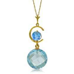Genuine 5.8 ctw Blue Topaz Necklace Jewelry 14KT Yellow Gold - REF-25P9H