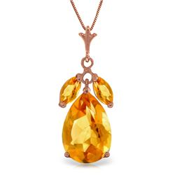 Genuine 6.5 ctw Citrine Necklace Jewelry 14KT Rose Gold - REF-34A6K