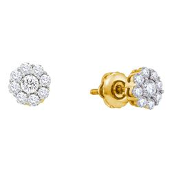 0.50 CTW Diamond Flower Screwback Stud Earrings 14KT Yellow Gold - REF-44W9K