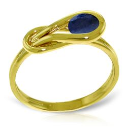 Genuine 0.65 ctw Sapphire Ring Jewelry 14KT Yellow Gold - REF-49A6K